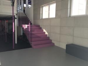 Treppenhaus im Fitnessclub - Quarzcolor Mono Epoxidboden in zwei Farben mit matter Oberfläche.