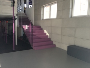 Stairway in a health club - Quarzcolor Mono epoxy floor in two colours with mat finish.