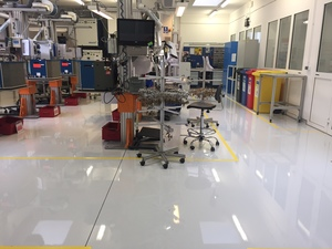 Lago flow-applied flooring system in a car part production room.