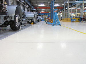 Quarzcolor industrial floor in a production building with high mechanical loads