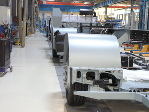 Quarzcolor in covering technology at a truck production plant.