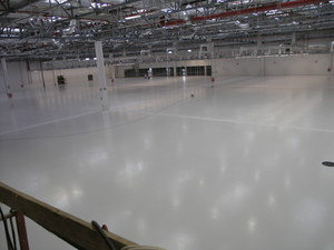 Quarzcolor resin floor at an automotive manufacturing plant.