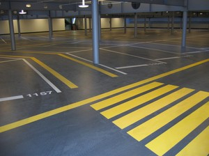 ECO epoxy floor inside an underground parking garage.